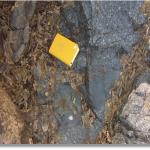 Xenolith of aphyric basalt in feldspar megacrystic gabbro.